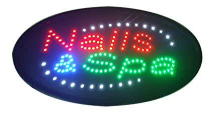 CHENXI Oval Nails&Spa Beauty Business Store Neon Signs 48X25 CM Indoor Ultra Bright Flashing Led Beauty Display Sign (48 X 25 CM, nails&spa)