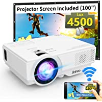 "WiFi Mini Projector, Jinhoo 2020 Latest Update 4500 Lux [100"" Projector Screen Included] Supported 1080P Home Theater with 176'' Projection Size Support TV Stick, HDMI, USB, SD, VGA"