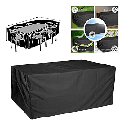 Firlar Outdoor Patio Furniture Covers, Rectangular Durable Waterproof UV Resistant Dust-Proof Table and Chair Cover for Furniture Protection Gardening Tools: Kitchen & Dining