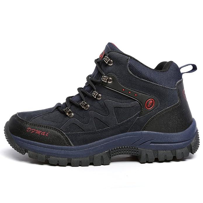 Gomnear Wasserdichte Herren Trekking & Wanderhalbschuhe Leder Outdoor Schuhe,Grau-43