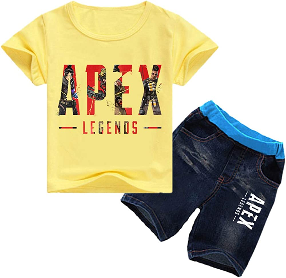Apex Legends T-Shirt Sets Colourful Summer New Childrens Clothing Korean Version Round Neck Short Sleeve Knit Shorts Kids