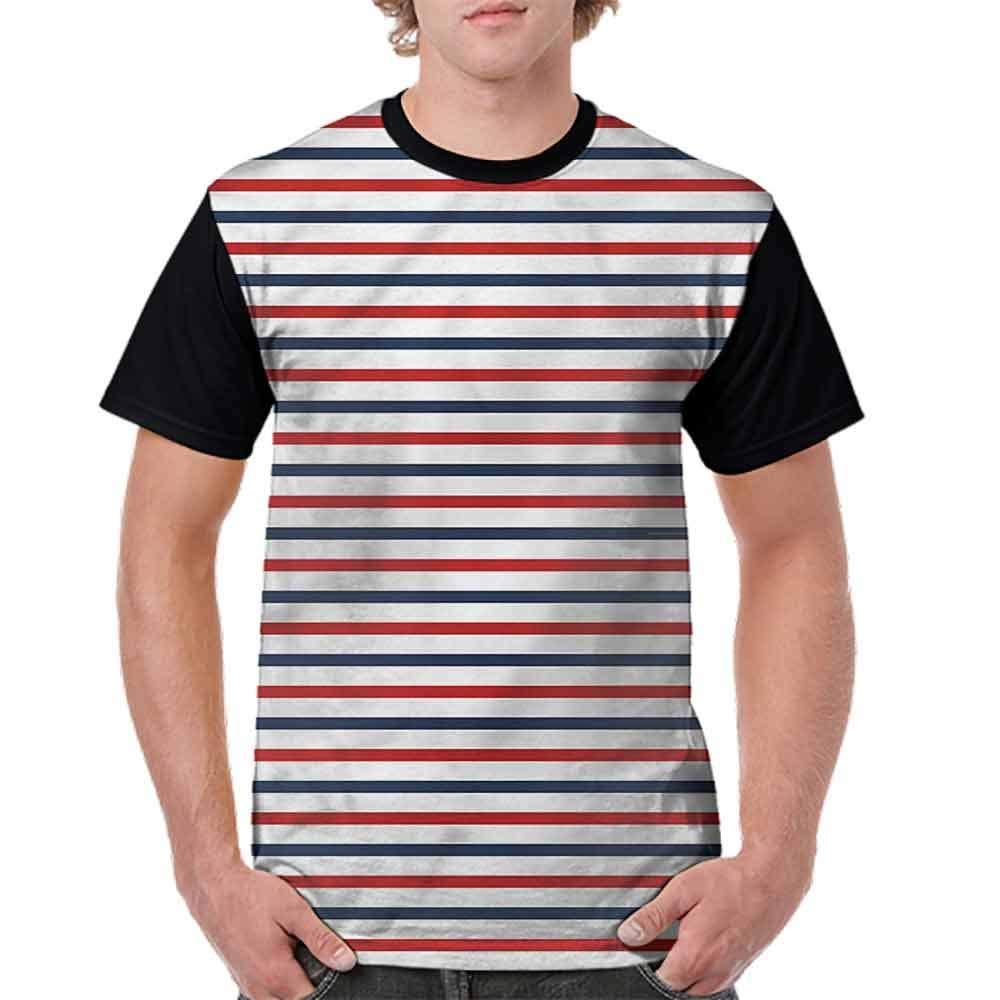 BlountDecor Loose T Shirt,Classical Striped Pattern Fashion Personality Customization