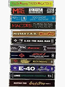 Bay Area Dope Tapes Hyphy Mob Cassette Mix Tapes Bay Area Hip Hop History Fan Art Merch & Gear Sticker - Sticker Graphic - Auto, Wall, Laptop, Cell, Truck Sticker for Windows, Cars, Trucks