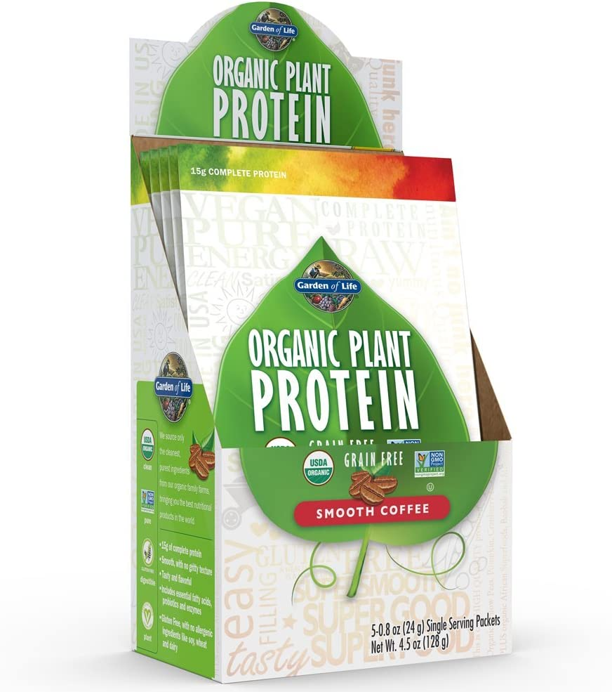 Garden of Life Organic Protein Powder - Vegan Plant-Based Protein Powder, Coffee, 5 Count Tray