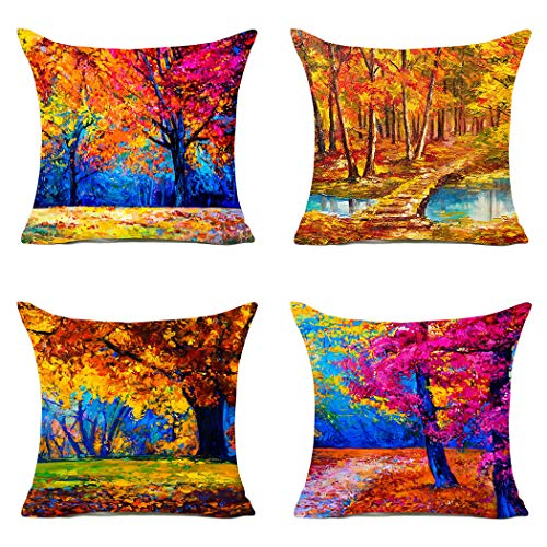 - MFGNEH Fall Decor Maple Leaves Cotton Linen Pillow Covers 18x18 Set of 4,Autumn Decorative Square Throw Pillow Case Cushion Cover for Sofa Beedroom Car