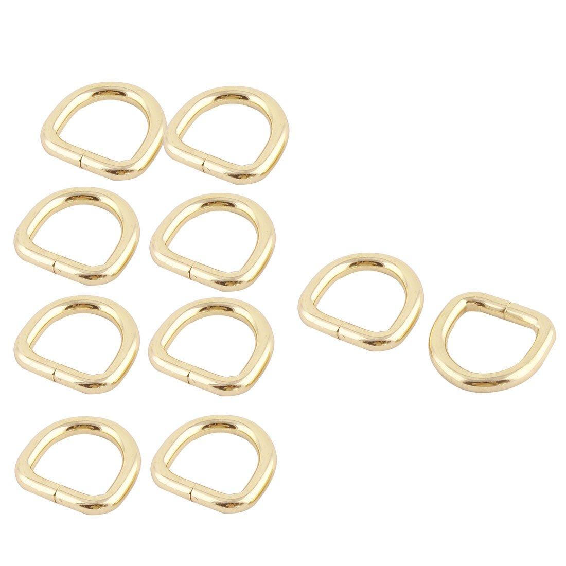 sourcingmap® Borsetta D metallica forma fibbia ad anello 0, 8 x 0.75 dimensioni interne tono Oro 10 pz. a16091200ux0039