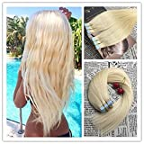 Moresoo 50g/20pcs 100% Straight Unprocessed Virgin Human Hair Extension Eheveux Remy hair Bleach Blonde Color #613 Seamless Skin Weft Tape In Hair Extensions 24 inch