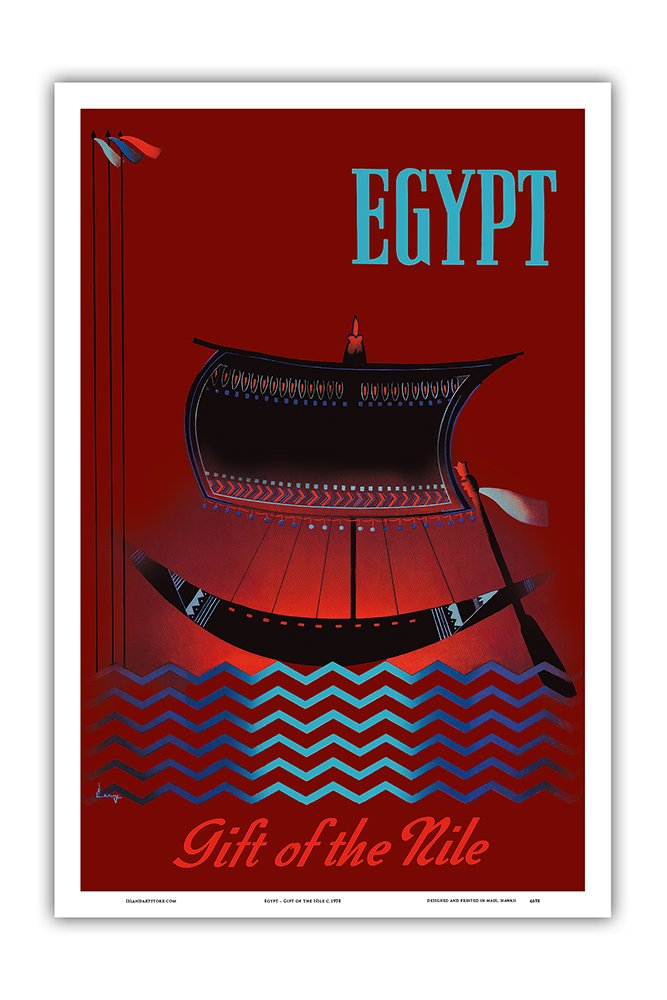 Pacifica Island Art Egypt - Gift of the Nile - Ancient Egyptian Solar Boat - Vintage World Travel Poster c.1950 - Master Art Print - 12in x 18in