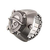 SODIAL(R) Reloj Anillo Tapa Figura Craneo Cadena Elastico Metal