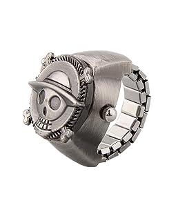 Taschen-Finger-Ring-Uhr - SODIAL(R) Vintage nette Schaedel Piraten Metall Taschen-Finger-Ring-Uhr