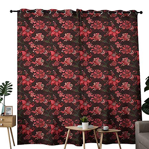 NUOMANAN Light Blocking Curtains Romantic,Paisley with Nostalgic Oriental Inspirations Blooming Valentines Day Love Bouquet, Multicolor,for Bedroom, Kitchen, Living Room 84