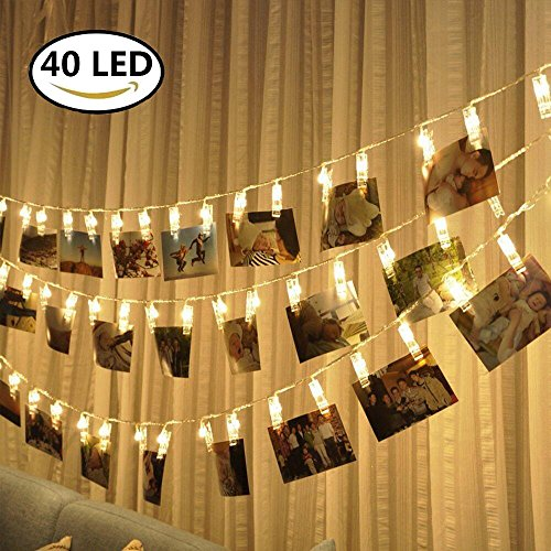 LED Photo Clips String Lights - 40 Photo Clips for Hanging Photos Cards Artwork for Indoor/Outdoor Bedroom Patio Parties Wedding Indoor Outdoor Marriage proposal Dorm Room(Warm White)