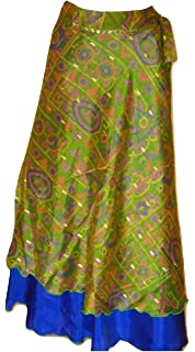 Exotic India Wrap Around Long Skirt with Printed Flowers Allure ...