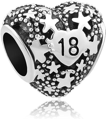 Lovelyjewellery 18th Birthday Charm Love Star Heart Charms New Sale Bead Gift Fit Pandora Bracelet Amazon Co Uk Jewellery