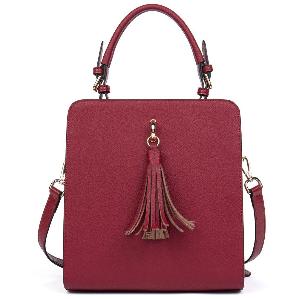 BOSTANTEN Leather Designer Handbag Tote Shoulder Cross Body Bag Satchel for Women Dark Green
