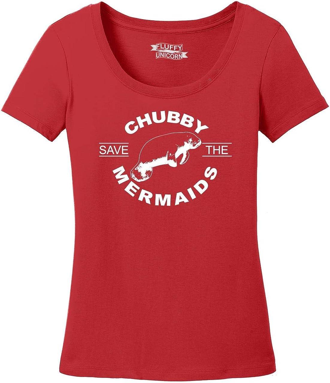 Comical Shirt Ladies Save The Chubby Mermaids Scoop Tee