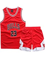 Sokaly Ragazzi Ragazze Chicago Bulls Jorden # 23 Curry#30 James#23 Pantaloncini da Basketball Jersey Set di Abbigliamento Sportivo Maglie Top e Shorts (Altezza 100-180cm)