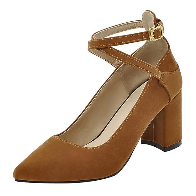 Damen Spitze Pumps mit Blockabsatz Chunky High Heels Riemchen Frühjahr Sommer Schuhe UH yJ1YE