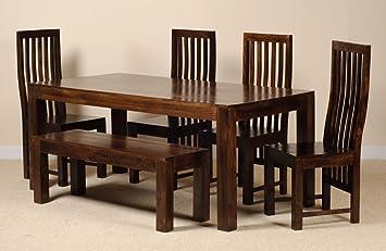 Casa Bella Furniture Dakota Dark Mango 6 Esstisch Set Mit Bank