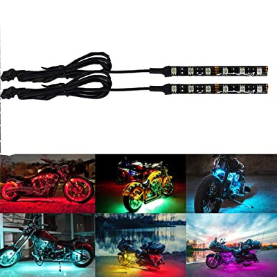 NBWDY's 2Pcs 5050SMD Motorcycle LED Light Strips- Multi-Color Accent Glow Neon Ground Effect Lights lamp (2x6LED RGB Light Strips): Automotive