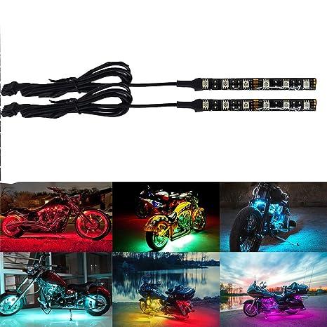 10pcs LED juegos de luz multicolor control remoto inal/ámbrico Motocicleta atm/ósfera l/ámpara RGB Flexible tiras efecto suelo luz para moto