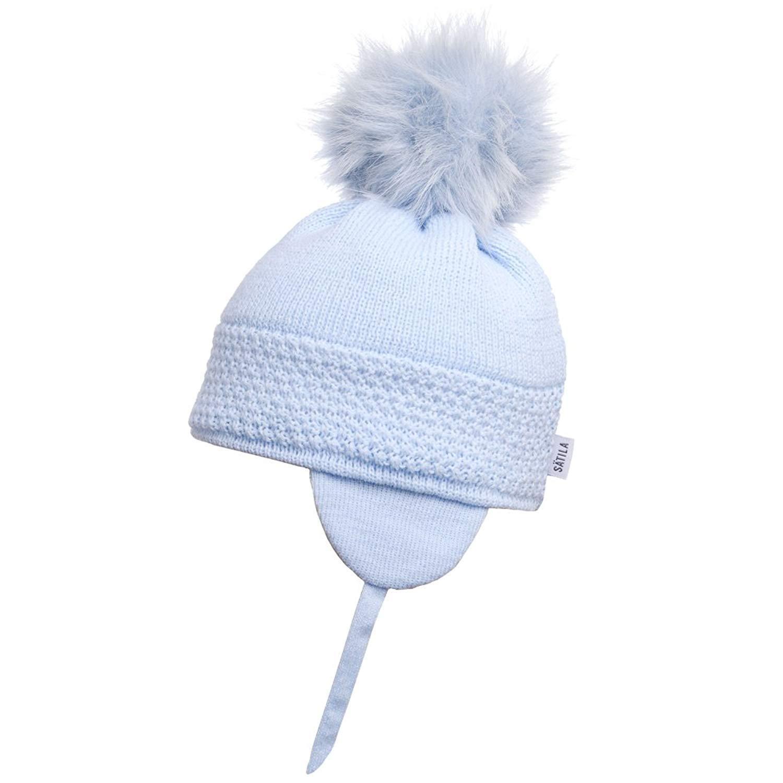 13146c8dc74 Satila of Sweden Baby Blue  Daisy  Faux Fur Pom-Pom Hat (53)  Amazon.co.uk   Clothing