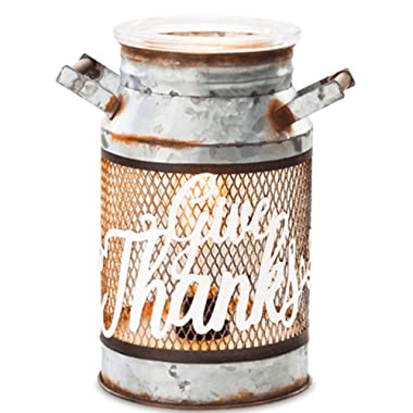 SCENTSY HOLIDAY HARVEST COLLECTION. GIVE THANKS MILK CAN. FULL SIZE CERAMIC WAX WARMER WITH LIGHT - NEW OUT 2018