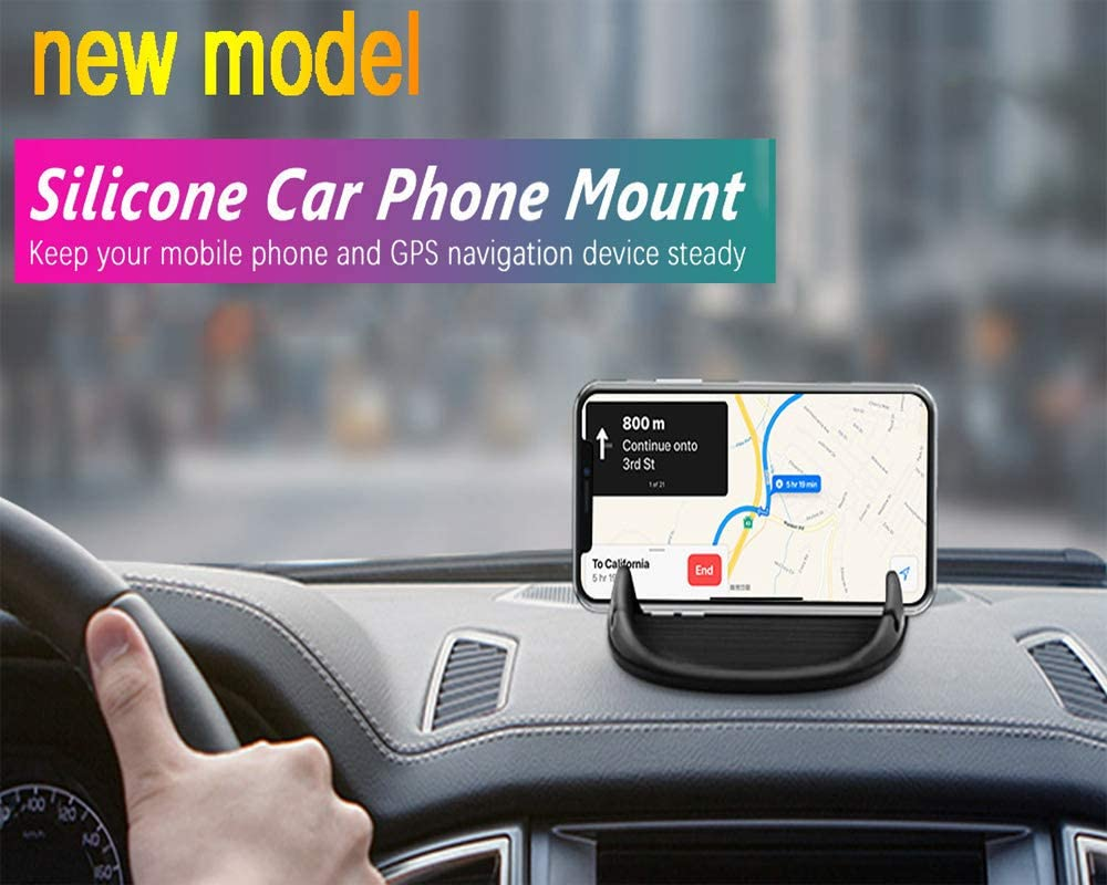 Amuoc Car Mount, Car Phone Mount Silicone Car Pad Mat for Various Dashboards, Anti-Slip Desk Phone Stand Compatible with iPhone, Samsung, Android Smartphones, GPS Devices and More. (Black)