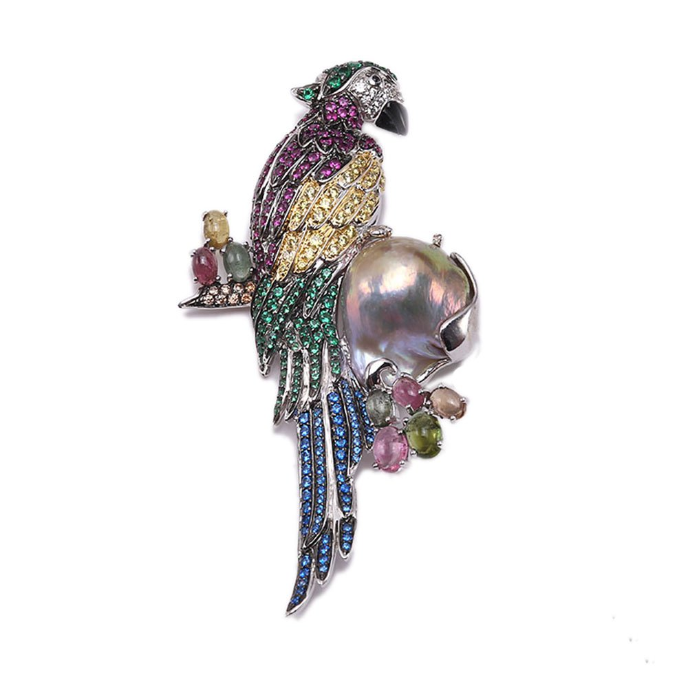 JYX Fine Parrot-style Lavender Baroque Pearl Pendant Brooch
