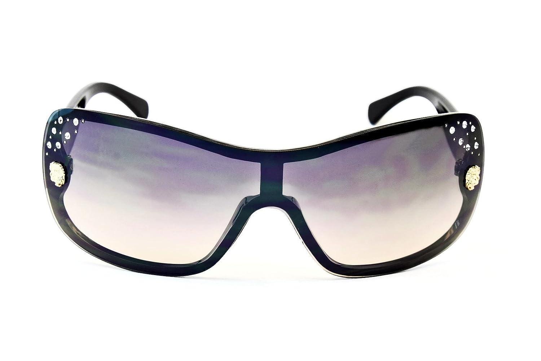 9c32401823 Amazon.com  V06-vp Style Vault Aviator Shield Rimless Sunglasses (F3102R  Black Gold