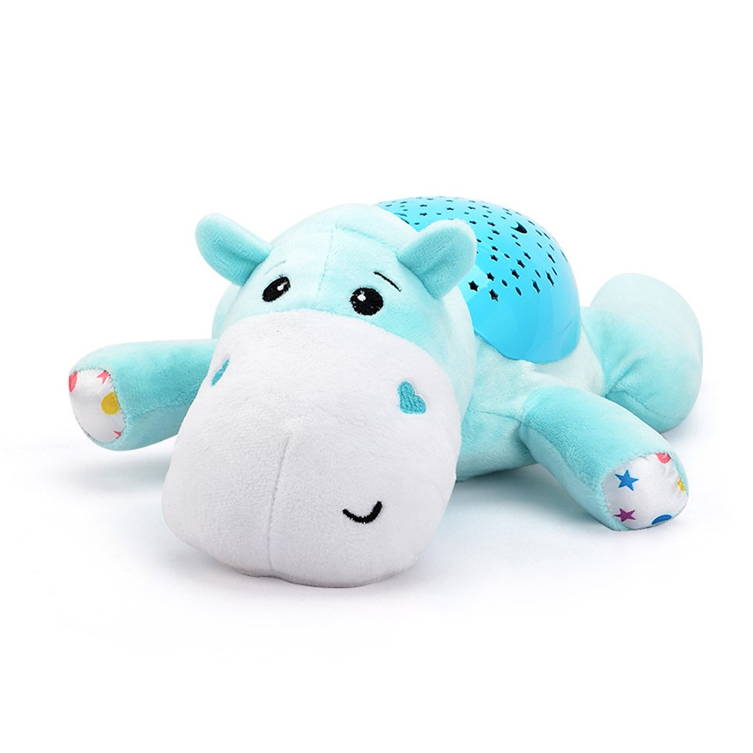 ESOCOME Baby Plush Hippo Toy Hypnotic Star and Moon Light Projector with Melodies -Animal Doll Sleep Soother Starry Night Light for Baby Infant Kids Nursery by ESOCOME (Image #1)