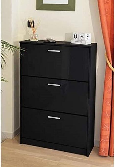 Berlioz Creations Klaket 3 Meuble A Chaussures Noir Haute Brillance 75 X 25 X 113 Cm Amazon Fr Cuisine Maison