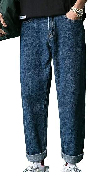 (BaLuoTe)デニムパンツ メンズ ジーンズ 秋 冬 ファッション カジュアル メンズ ストレート ゆったり ロングパンツ デニム 9分丈 ファスナー メンズ パンツ 通勤 通学 ボトムス