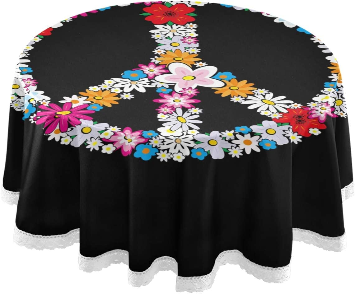 Amazon Com Dallonan Table Decoration For Party Peace Sign Round Table Cloth Spring Peace Sign Flower Symbol Polyester White Lace Tablecloth Round Table 60 Inch For Dinner Table Decortion Home Kitchen
