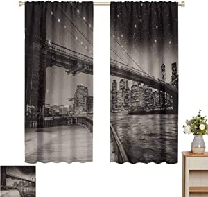 "Petpany Sheer Curtains New York,Summer Night in Manhattan Brooklyn Bridge Park River Waterfront Modern City,Dark Sepia Black,Blackout Draperies for Bedroom 54"" W x 84"" L"