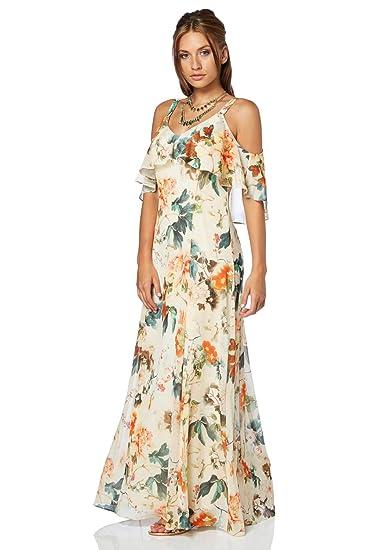 2d664f702b Roman Originals Ladies Oriental Cold Shoulder Chiffon Maxi Dress - Orange 8