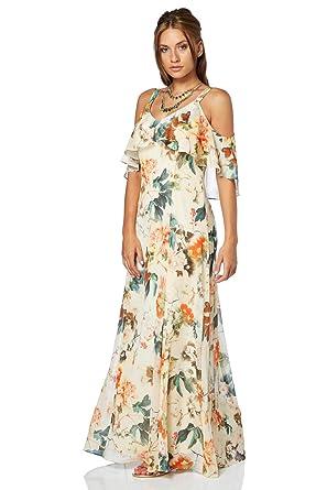 0e0c9b9481b Roman Originals Femme Robe Maxi Longue Épaules Dénudés Légère Floral -  Printemps Ete Grande Taille Fleurs