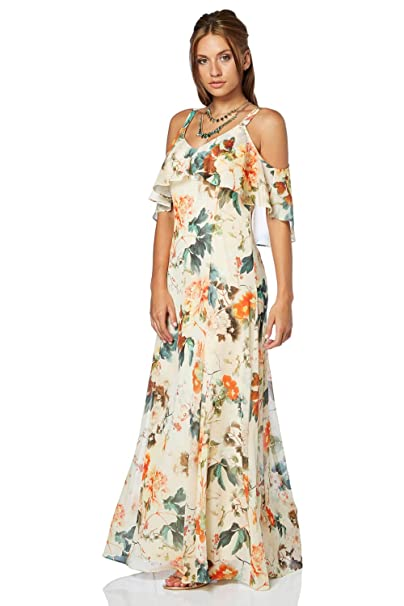 bf101d499155 Roman Originals Women Cold Shoulder Chiffon Floral Maxi Dress - Ladies  Loose Boho Bohemian Oriental Summer Short Sleeve Evening Occasion Wedding  Guests ...