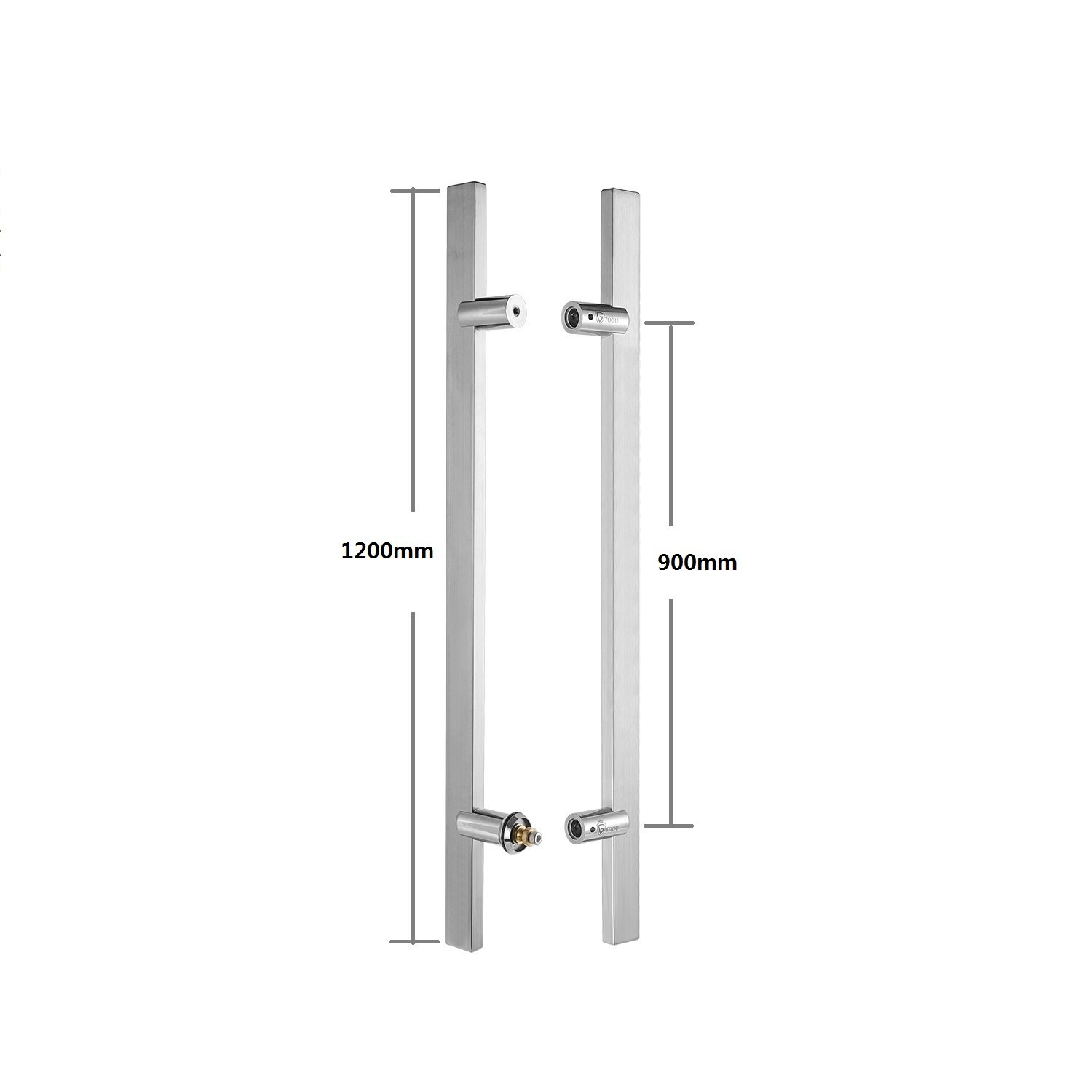 Glass and Steel Doors Timber Matt Black Finish TOGU TG-6017 900mm//36 inches Square//Rectangle H-Shape//Ladder Style Back to Back Stainless Steel Push Pull Door Handle for Solid Wood