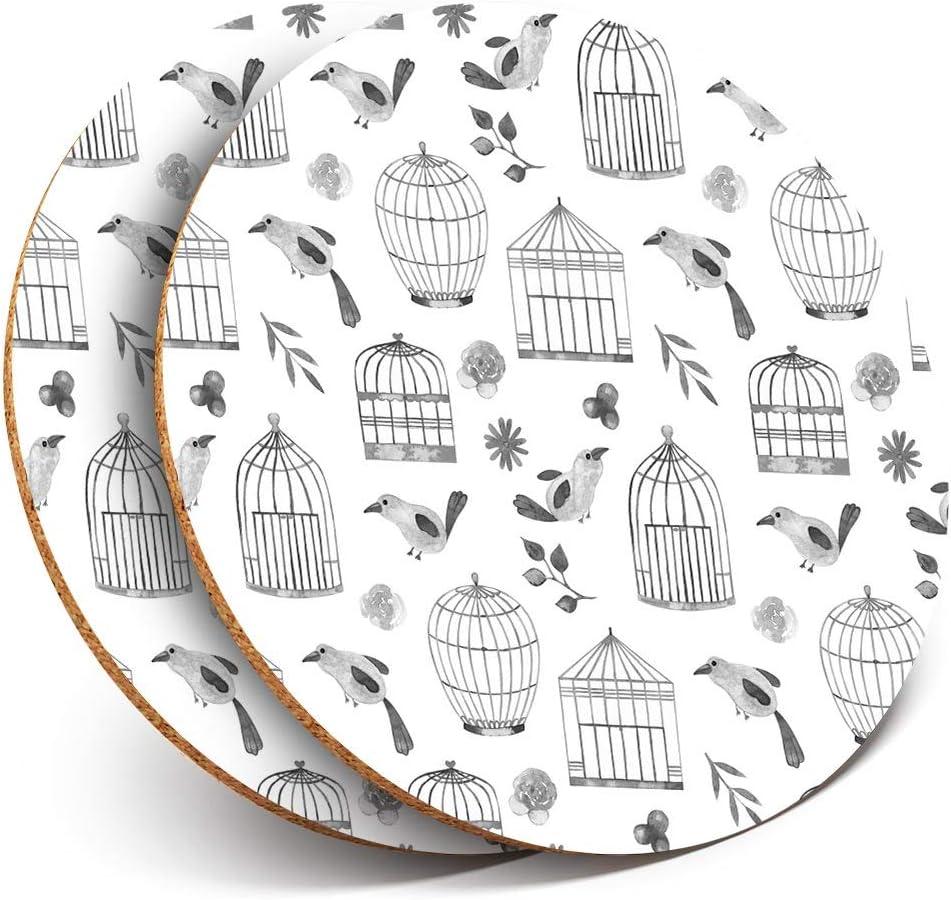 Posavasos de vinilo Destination Ltd Great Posavasos (juego de 2) redondos, diseño de jaula de pájaros y acuarela con patrón de pájaros, para protección de mesa para cualquier tipo de mesa #42565