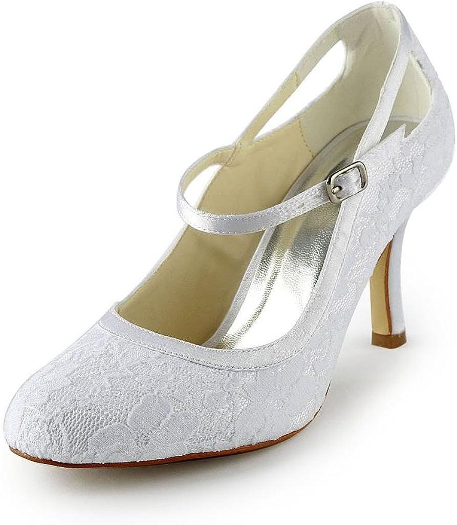 Jia Jia Bridal A31B13 Satén de Encaje Bajo Talón Cerrado Dedo del Pie Fiesta de Baile Zapatos de La Boda Wommen Bombas