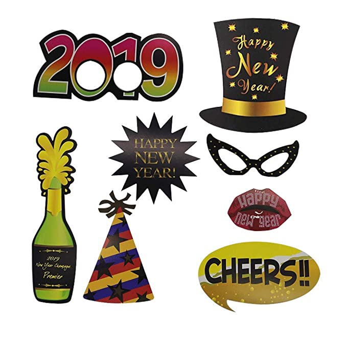 amazoncom 12pcs new year eve 2019 happy new years photo booth props new year eve party supplies 2019 party decorations toys games