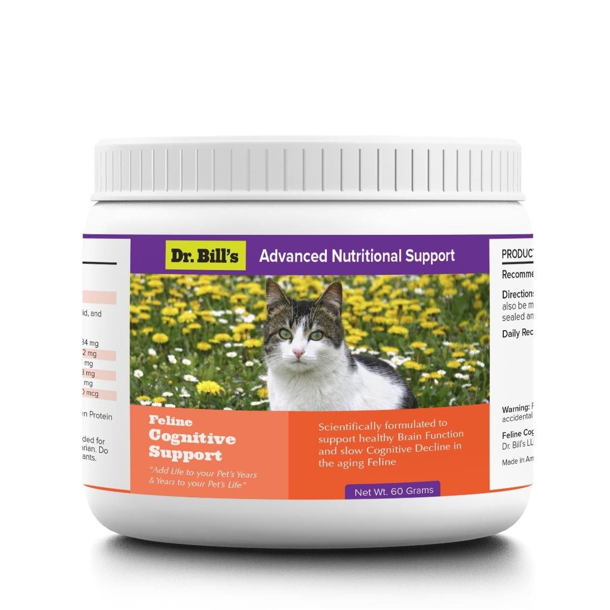 Dr. Bill's Feline Cognitive Support | Pet Supplement |Cognitive Dysfunction |Includes Phosphatidylcholine, Gingko Biloba, DHA, L-Carnosine, Vitamin B12, L-Glutamine, and L-Tyrosine | 60 Grams by Dr. Bill's