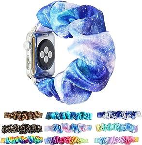 Scrunchie Elastic Watchband for Apple Watch Band Series 6 5 4 3,Tomcrazy Watch Band for iwatch 38mm 40mm 42mm 44mm Strap Bracelet (Blue tie dye 66, 42mm/44mm)