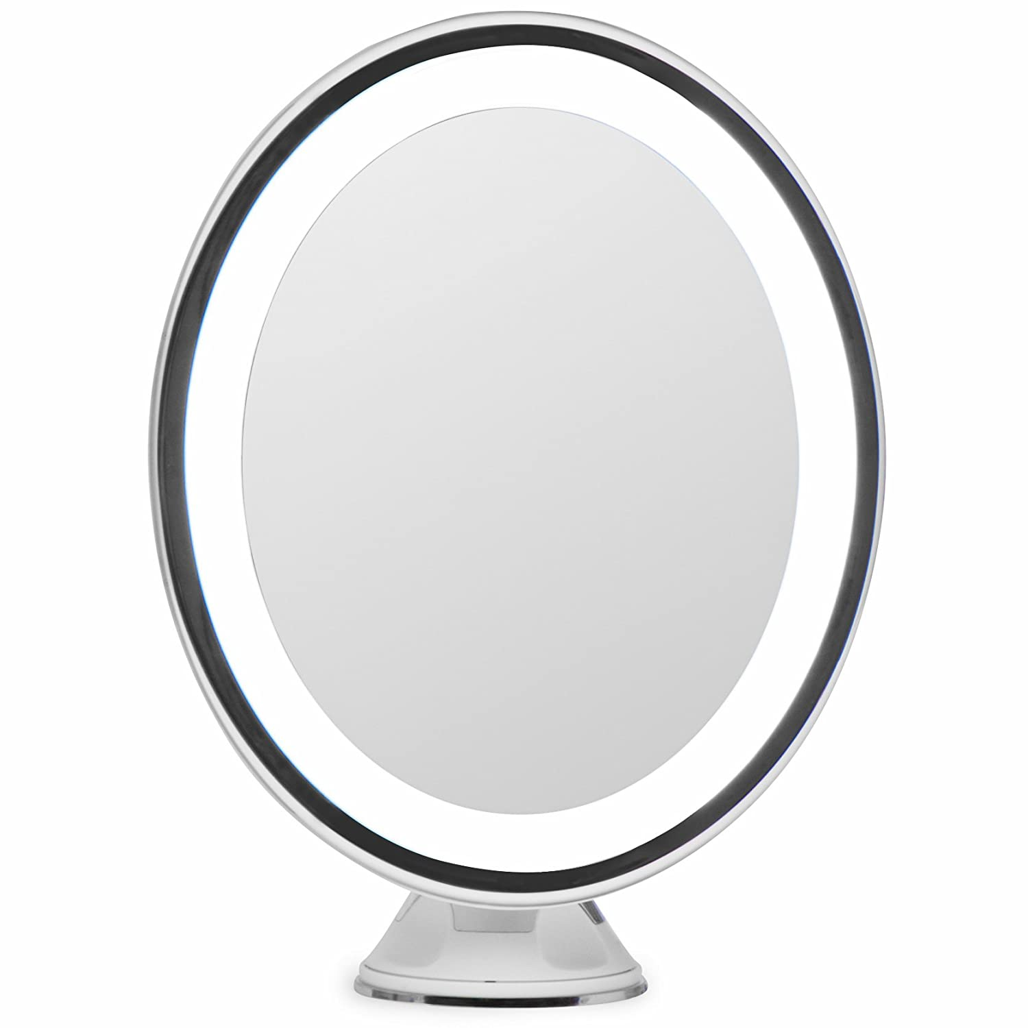 LightLUXE 5X Lighted Magnifying Makeup Mirror w/Bright LED Lights, 360 Swivel, Locking Suction & Unique Oval Countertop Mirrorvana