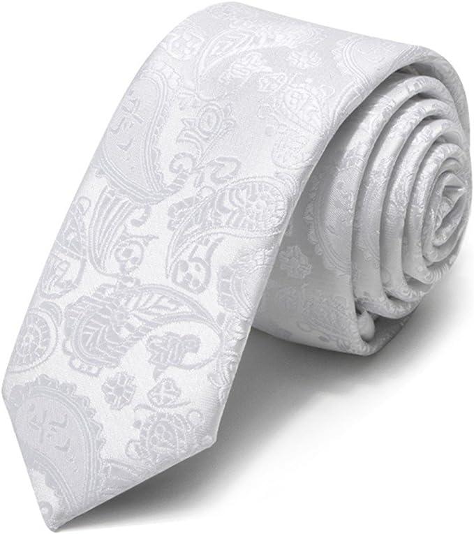 HXCMAN 5cm Blanco floral paisley corbata estrecho diseño clásico ...