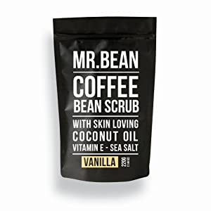 Mr. Bean Organic All Natural Coffee Bean Exfoliating Body Skin Scrub with Coconut Oil, Vitamin E, and Sea Salt - Vanilla