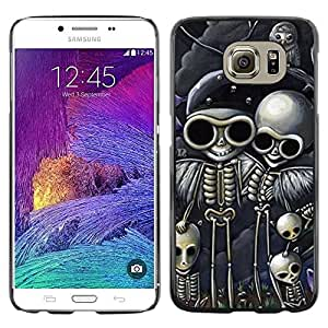 LASTONE PHONE CASE / Carcasa Funda Prima Delgada SLIM Casa Carcasa Funda Case Bandera Cover Armor Shell para Samsung Galaxy S6 SM-G920 / Skull Biker Drawing Black Skeleton