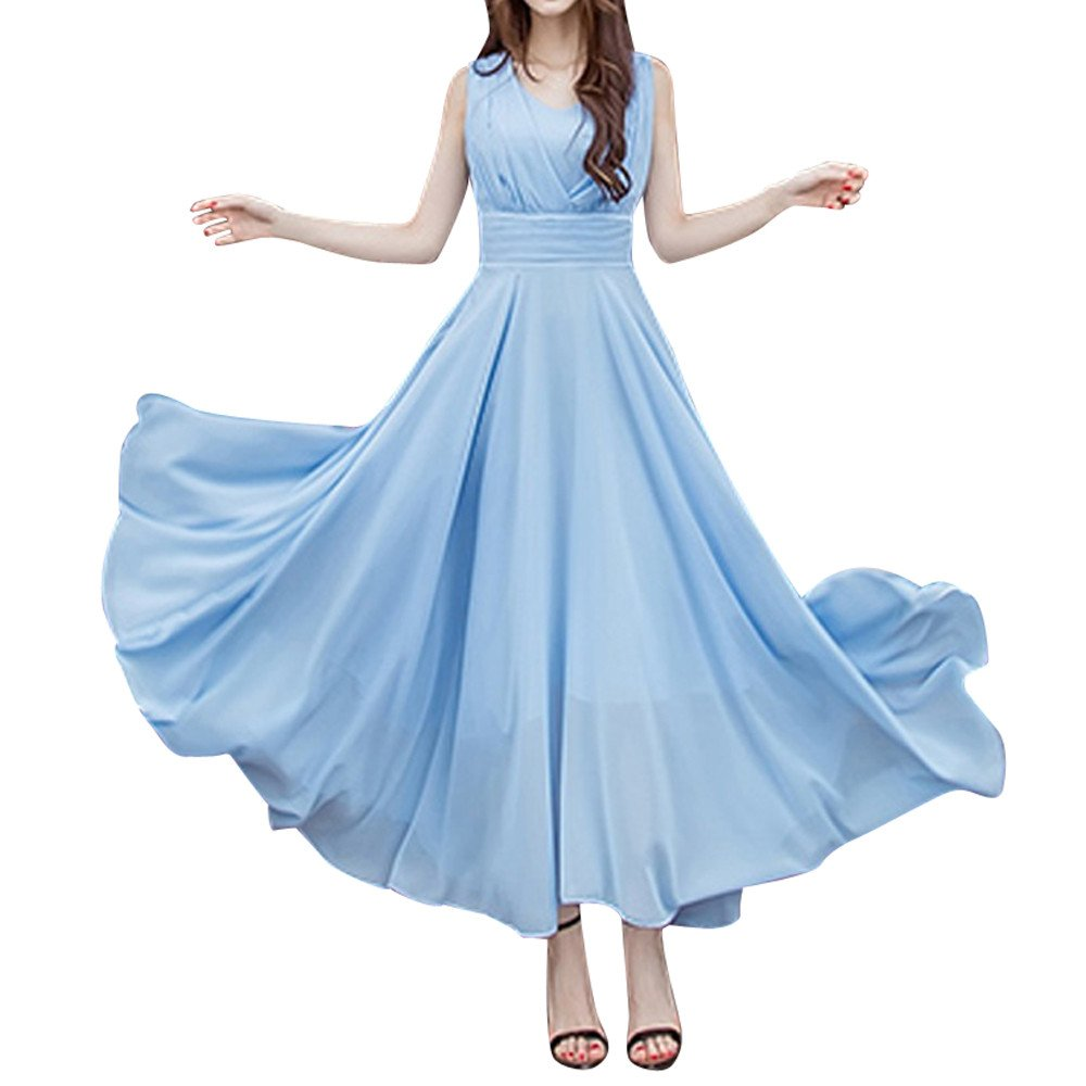 Kawaii Women's Summer Spaghetti Strap Halter Deep V Neck Backless Long Beach Party Maxi Dress Sky Blue by ★Kawaiine★_Clothing