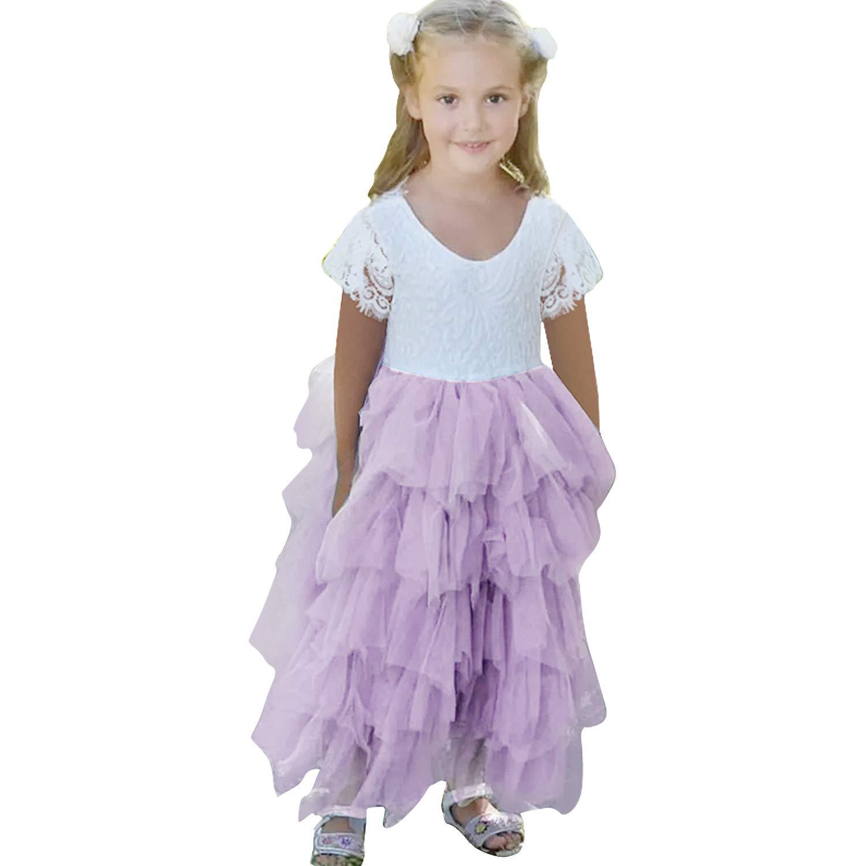Vestido de Fiesta Manga Larga de Chica sin Espalda de una l/ínea de Encaje en Espalda con tut/ú Tul de Flor